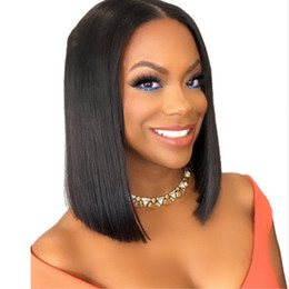Wholesale High Density Remy Lace Wigs - 150% Density High Quality Short Bob Wigs For Black Women Glueless Remy Hair Lace Front Human Hair Wigs with Baby Hair Natural Hairline
