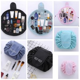 Wholesale Zipper Organizer - Vely Vely Lazy Cosmetic Bag Drawstring Wash Bag Makeup Organizer Storage Travel Portable Cosmetic Bag Pouch Magic Toiletry Bags KKA4193