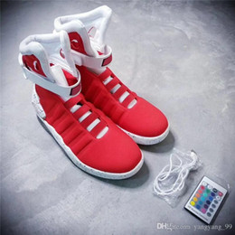 Wholesale Mags Shoes - Air Mag Sneakers Marty McFly's LED Shoes Back To The Future Glow In The Dark Gray Black Mag Marty McFlys Sneakers With Box Top quality