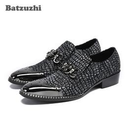 Wholesale Fall Style Tips - Batzuzhi Italian Style Handmade Men Shoes Metal Tip Men Leather Shoes Crocodile Pattern Black Formal Dress Shoes Zapatos Hombre