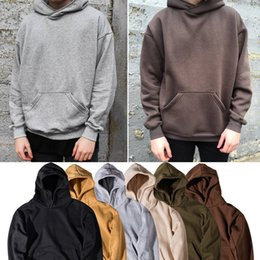 Wholesale Winter Hip Hop Jacket - Men's Hoodie Sweatshirt Kanye Hip Hop Streetwear Male Oversized Plain Pullover Hoodies Cool Winter Hooded Sweatshirt Jacket Coat SHG1102