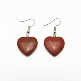 Wholesale Green Sand Stone - New rock crystal love earrings temperament cute joker gold sand stone ear hook female heart earrings wholesale