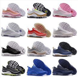 Wholesale Mens Light Blue Shoes - 97 Mens Low Running Shoes Cushion Men Women Size OG Silver Gold Anniversary Edition Sneakers 97S Sport Athletic Sports Trainers