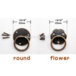 Schrank ring ziehen online-24 stücke Antike Messing Vintage Mini Runde O Ring Dia 20mm Schmuck Brust Box Möbel Schublade Pull Puppenhaus Türgriff