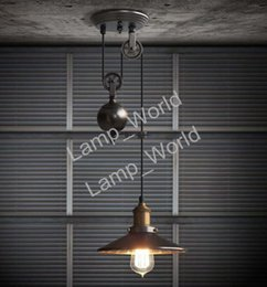 Wholesale Hanging Pulleys - Edison Retro Adjustable Pulley pendant Lights novelty lighting hanging lamps E27 led Lamparas Industrial lighting rise & fall pendant lamp