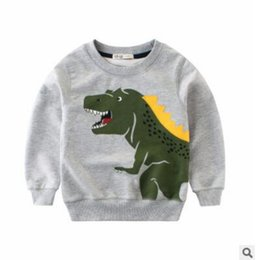 Wholesale Cartoon Character Tshirt - Cartoon Dinosaur Pullover Tops Coat 2018 Children Boys Clothes Cotton Cartoon Pullover Tshirt Baby O-neck Long Sleeve Tops Baby Clothes