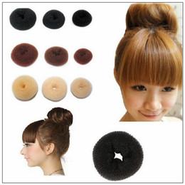 Wholesale wholesale hair bun extension - 3pcs lot Girls Hair Bun Donut Synthetic Scrunchie Bun Cover Cage Bun Wrap Maker Hair Extension Brid Hair Bands CCA9883 1500lot