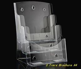 2019 kunststoff-einsatzständer Klar A4 3 Tiers Kunststoff Acryl Broschüre Literatur Broschüre Display Halter Racks Ständer zum Einfügen von Leaflet Desktop günstig kunststoff-einsatzständer