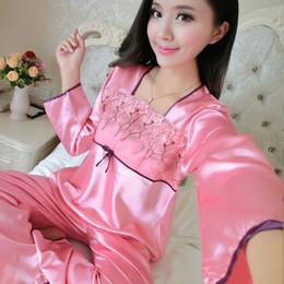 e03c8cc96b 2017 primavera autunno donne elegante rosso pigiama a due pezzi set sexy  delle signore in raso pantaloni tuta da notte pigiama di seta per le donne  ...