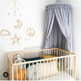 Wholesale Princess Kids Beds - White Grey Pink Princess Canopy Bed Curtains Hanging Dome DIY Play Tent Teepee for Kids Indoor Girls Play House for Chidlren