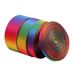 Wholesale Gift Wrap Rolls - 50Yards roll Satin Ribbon Double-sided Rainbow Ribbons Wedding Gift Wrapping Christmas New Year Party Decor Supplies