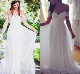 Wholesale Full Chiffon Skirt - Lace Off-shoulder Beach Wedding Dresses 2018 Modest Simple Flowy Chiffon Skirt Full length Summer Holiday Boho Beach Country Bridal Dress