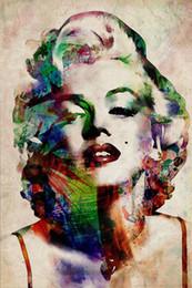 Art de la toile marilyn monroe en Ligne-Sexy Coloré Marilyn Monroe Peinture Images Abstrait Mur Art Imprime sur Toile Image pour Salon Décor À La Maison Sans Cadre