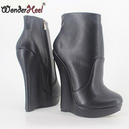 Wholesale silver platform wedge heels - Wonderheel New matt leather extreme high heel 18cm with 3cm platform wedge ankle boots short boots fashion show sexy boots