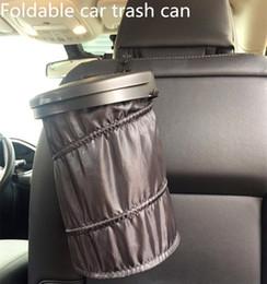 2019 radiadores de plástico Contenedor de basura para el automóvil Latas de basura plegable Tenedor de polvo Casos de basura Organizador del coche Bolsa de almacenamiento Asiento Residuos Auto Interior Basura Barril