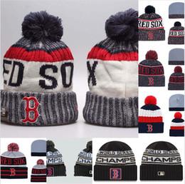 Sombreros esposados online-Campeones de la Liga Americana Boston 2018 para hombres Gorro de punto con puño con puño Bofetada Red Sox Béisbol Todo el equipo Skullies Gorros de mujer
