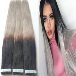 Canada 10a ruban de qualité dans les extensions de cheveux ombre bayalage noir à gris européen remy ruban adhésif dans les extensions de cheveux humains pour les femmes de cheveux minces cheap european straight hair extensions Offre