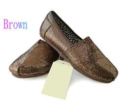 3045571a18 Zapatos casuales Mujeres Clásicos TOM MRS Mocasines Lona paillette Slip-On  Pisos zapatos Zapatos perezosos talla 35-40 envío gratis Marrón