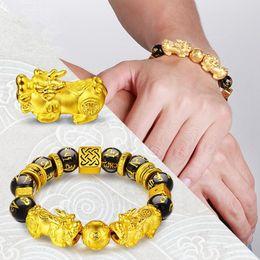 Китайские каменные браслеты онлайн-Gold Color Brave Troops Stone  Bangles Bracelet 6 Words Chinese Lucky Enegry God Beast Pixiu Bracelet Dropship Jewelry Gift