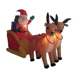 Wholesale led lighted reindeer - Sanheshun Creative Home Supermarket Square Lighting 210cm Tall Inflatable Santa Sleigh Reindeer Outdoor Christmas Decor LED
