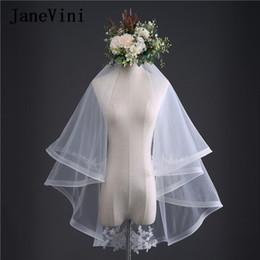 ef3ebe993d venta al por mayor 2018 Chic dos capas velos de la boda con peine borde de  la cinta corto marfil velo de novia apliques de encaje novia accesorios deco