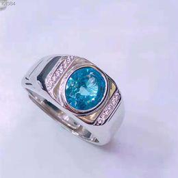 2019 anelli in argento sterling in pietra blu Topaz Ring Men Real 925 gioielli in argento sterling Pop Vintage Ring Natural Stone Superior Gioielli Sea Blue Anniversario di matrimonio anelli in argento sterling in pietra blu economici