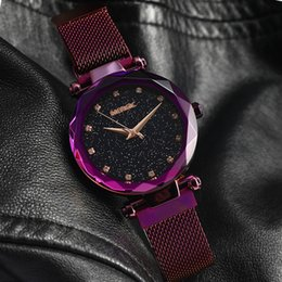 Черные фиолетовые часы для девочки онлайн- Quartz Purple Fashion Starry Sky Watch Women Mesh Magnet Band Crystal Girl Ladies Blue Black Rose Gold Waterproof 2019