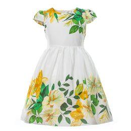 Wholesale White Knee Length Frocks - Baby Girls Dress Kids Girl Short Sleeve Casual Cotton Flower Dresses Children Summer Design White Frock Girls Sundress 2-7 Years