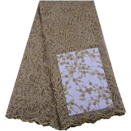 Últimas telas de encaje africanas de oro real bordado de alta calidad tela de encaje francés nigeriano tela de encaje de tul A1422 desde fabricantes
