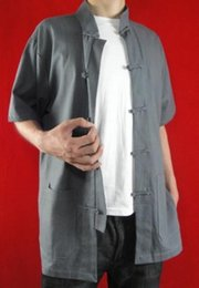 Fino lino gris Kung Fu Artes marciales Tai Chi camisa ropa XS-XL o a medida por encargo desde fabricantes