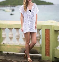 24838e251eb2 Crochet Cover up Tassel Beach Pareo Dress Tunics for Beach Swimsuit Cover  Ups 2018 Bikini cover up Ropa De Playa Beach wear