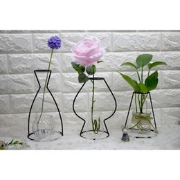 Wholesale minimalist vases - New Black Lines Vase Abstract Home Decor Minimalist Abstract Iron Vase Dried Flower Racks Nordic Flower Ornaments