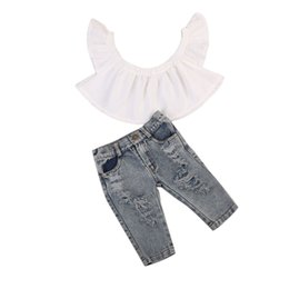 Wholesale Hold Boy - Infant Kd Baby Girls Clothing Ser Off Shoulder Tops +Hold Denim Pants Jeans Outfits Clothes Playsuit
