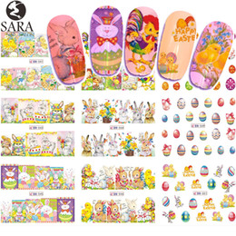 Canada 12 Design Eau Nail Sticker Pâques Bricolage Cartoon Oeuf Design Set Tatouages Temporaires Couleur Nail Art Decal Décoration Astuce SABN541-552 cheap easter nails Offre