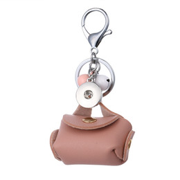 Wholesale Men Jewelry Packaging - New Snap Keyrings Creative Leather Key Package With Bell Charm Snap Pendant Setting Fit 18mm Snap Button Jewelry