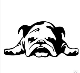 free funny cartoons Coupons - 20PCS Car Stickers English Bulldog Tired Puppy Dog Cartoon Car Covers Funny Car Dacel Free Shipping By Epackage