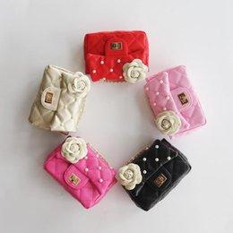 Wholesale wholesale little girls shoulder bag - 5 colors Baby Flower beads Bag Fashion Kids PU Leather Shoulder Bag Little Girls Gifts Toddler Purse Handbag Children Mini Messenger Bag