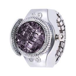 Каменные часы для женщин онлайн-Ladies Watches Clock Female Fashion Women Watches Women Jewelry Round Finger Ring Watch Stone Steel Elastic Lady Girl Gift #35