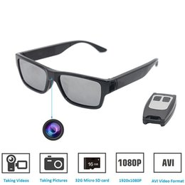 Wholesale remote spy - Sunglasses Camera Remote Control and Touch Switch Full HD 1080P with No Hole Mini Camera Spy Video Glasses EyeWear Camcorder Built-in 16GB