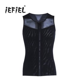 Wholesale Tight Tank Top Undershirt - iEFiEL Men Zippered Undershirt Tights Shapewear Slimming Body Vest Shirt Square Collar Tank Tops Men's Clothing for Party Dinner