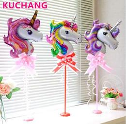 globos de papel rosa Rebajas 10 unids Mini Rainbow Pink Purple Unicorn Foil Air Balloons Cartoon Animal Baby Shower Fiesta de Cumpleaños Decoraciones de Boda Globos