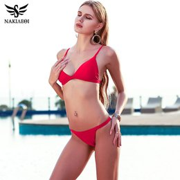 Wholesale Micro Suits - Sexy Micro Bikini Swimwear Women Swimsuit 2018 New Halter Brazilian Bikini Set Beach Bathing Suits Swim Wear Bikinis free shipping