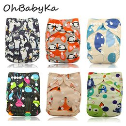 детская ткань подгузники мультфильмы Скидка Ohbabyka Cloth Diapers Waterproof Cartoon  Pint Baby Diapers Couche Lavable Reusable Washable Bamboo Fiber Baby Nappy Cover