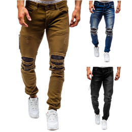 Wholesale Damaged Jeans - 2017 New arrival CosMaMa Brand factory designer slim fit fashion ripped knee leather torn cool damaged biker jeans pants for men