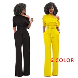 a98ab1cf9e1c red spandex romper NZ - Women One Shoulder Solid Jumpsuits Wide Leg Long  Romper Pants with