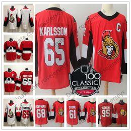 Wholesale Ottawa Hockey - Mens Youth Womens #65 Erik Karlsson 61 Mark Stone 68 Mike Hoffman Kids 100th Classic Red White 2018 Ottawa Senators Stitched Hockey Jerseys