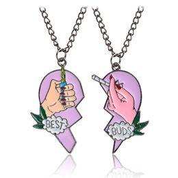 Wholesale Lighter Love - Enamel Best Buds Cigarettes Lighter Necklace Enamel Puzzle Broken Heart Pendant Couple Necklace Fashion Jewelry for Women Drop shipping