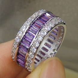 Wholesale popular box sets - Size 5 6 7 8 9 10 Sparkling Luxury Jewelry 10kt White Gold Filled Popular Square Amethyst CZ Crystal Women Wedding Finger Ring Gift With Box