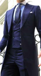 Темно-синий костюм онлайн-2018 Navy Blue Double Breasted Long tail coat Wedding Suits for Men Peaked Lapel Men Suits For Evening Party Gentlemen Tuxedos