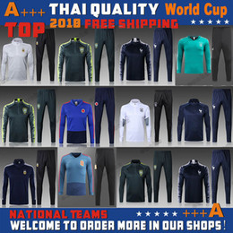 Wholesale Train Suits - hot selling 2018 world cup france germany spain brazil soccer tracksuit chandal Survetement football Tracksuit training suit skinny pants